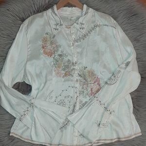 J.jill %100 Silk Vintage Embroidered Button Down B